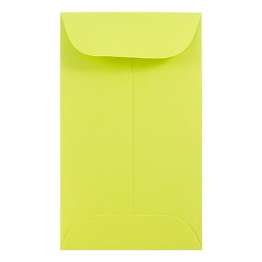 JAM Paper® #6 Coin Envelopes, 3 3/8 x 6, Brite Hue Ultra Lime Green, 500/Pack