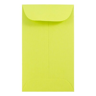 JAM Paper® #5.5 Coin Envelopes, 3 1/8 x 5 1/2, Brite Hue Ultra Lime Green, 1000/carton (356730546C)