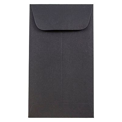 JAM Paper® #6 Coin Envelopes, 3 3/8 x 6, Black, 1000/carton (356730564C)