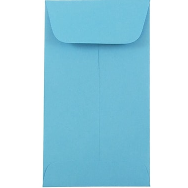 JAM Paper Enveloppes à monnaie no 6, 3 3/8 x 6 po, papier recyclé Brite Hue bleu, 100/paquet