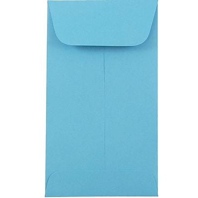 JAM Paper® #6 Coin Envelopes, 3 3/8 x 6, Brite Hue Blue Recycled, 25/pack (356730559)