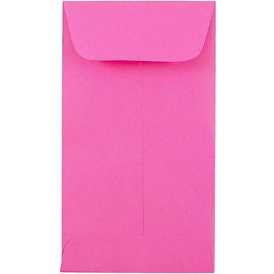 JAM Paper® #5.5 Coin Envelopes, 3 1/8 x 5 1/2, Brite Hue Ultra Fuchsia Pink, 1000/carton (356730545C)