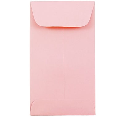 JAM Paper® #6 Coin Envelopes, 3 3/8 x 6, Baby Pink, 500/Pack