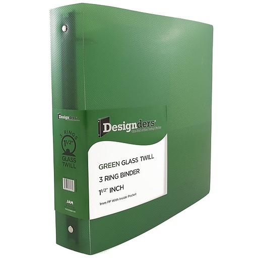 JAM Paper® Plastic 3 Ring Binder, 1.5 Inch, Green, Sold