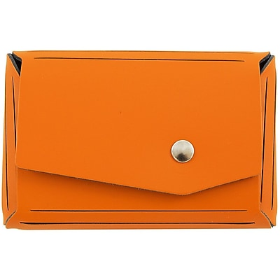 JAM Paper® Leather Business Card Case, Angular Flap, Orange, Sold Individually (233329907)
