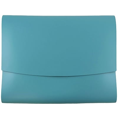 JAM Paper® Italian Leather Portfolio With Snap Closure, 10.5 x 13 x 0.75, Teal Blue, Sold Individually (233329922)
