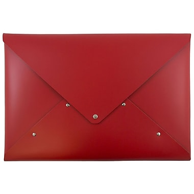 JAM Paper® Italian Leather Portfolio with Snap Closure, Legal Size, 10 1/4 x 14 3/4, Red