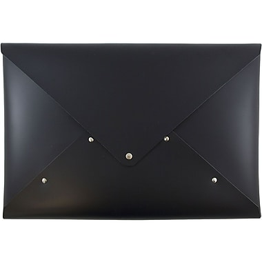 JAM Paper® Italian Leather Portfolio with Snap Closure, Legal Size, 10 1/4 x 14 3/4, Black