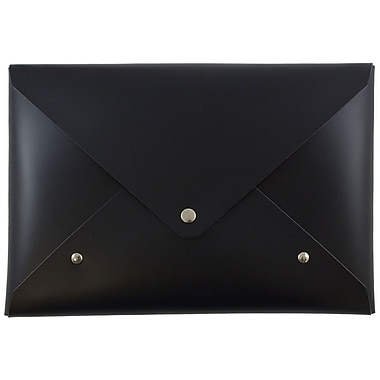 JAM PaperMD – Porte-documents en cuir italien avec fermeture à bouton pression, taille moyenne, 6 1/8 x 9 po, noir
