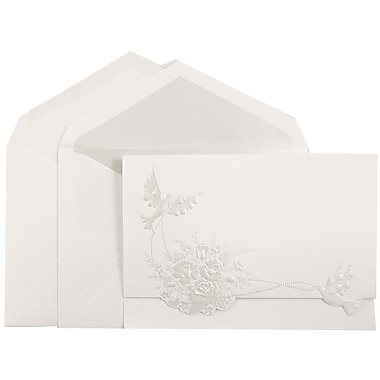 JAM PaperMD – Ensemble d'invitations Quinceanera, grand, 5,5 x 7,75, blanc avec colombes perle, doublure cristal, 50/pqt
