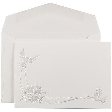 JAM Paper® Quinceanera Invitation Set, Small, 4 7/8 x 3 3/8, White, Pearl Doves Design, White Envelopes, 100/pack (5269750)