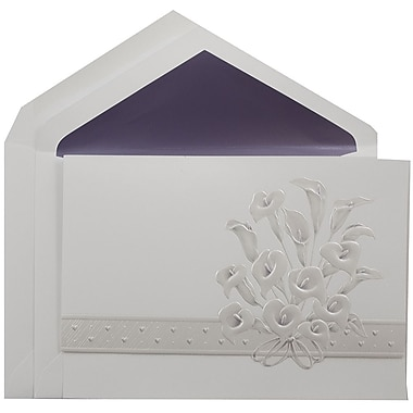 JAM PaperMD – Ensemble d'invitations Quinceanera, grand, 5,5 x 7,75 po, blanc avec lys calla et intérieur violet, 50/pqt