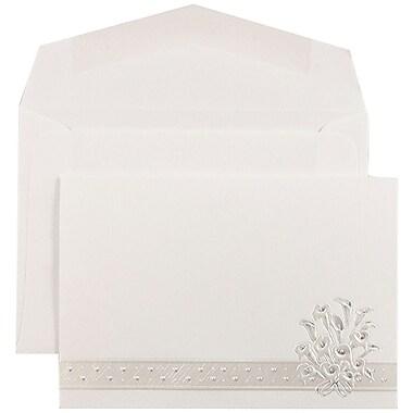 JAM PaperMD – Ensemble d'invitations Quiceanera, 4 7/8 x 3 3/8 po, blanc avec Calla et enveloppes blanches, 100/paquet