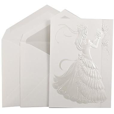 JAM PaperMD – Ensemble d'invitations Quinceanera, grand, 5,5 x 7,75 po, blanc avec princesse et intérieur cristallin, 50/paquet