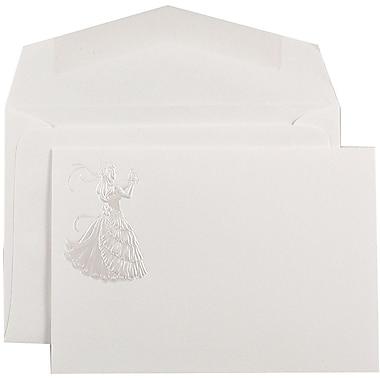 JAM PaperMD – Ensemble d'invitations Quiceanera, 4 7/8 x 3 3/8 po, blanc avec motif de princesse perle, 100/paquet