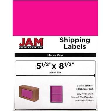 JAM PaperMD – Étiquettes d'expédition, demi-feuilles, 5,5 x 8,5 po, rose vif, 50/paquet