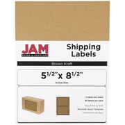 JAM Paper® Shipping Labels, Half Sheet, 5.5 x 8.5, Brown Kraft, 50/pack (359430338)