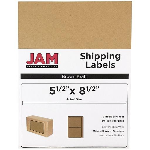 Jam Paper Shipping Labels Half Sheet 5 5 X 8 5 Brown Kraft 50