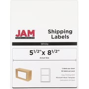 JAM Paper® Shipping Labels, Half Sheet, 5.5 x 8.5, White, 50/pack (359430339)