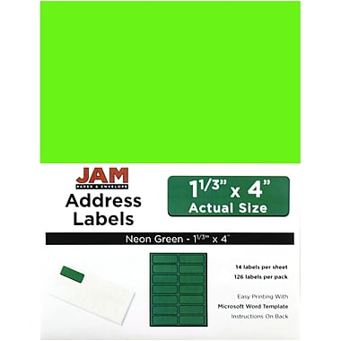 JAM Paper® Mailing Address Labels, 1 1/3 x 4, Neon Green, 252/Pack
