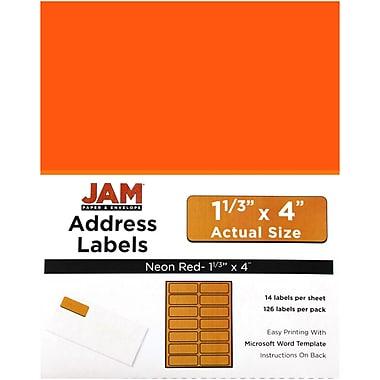 JAM PaperMD – Étiquettes postales, 1 1/3 x 4 po, rouge néon, 252/paquet