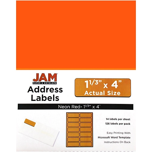 jam paper mailing address labels 1 1 3 x 4 neon red 126 pack