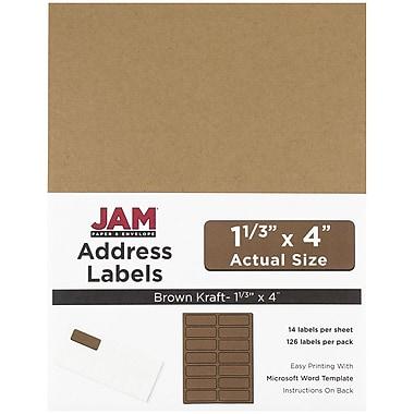 JAM PaperMD – Étiquettes postales, 1 1/3 x 4 po, brun kraft, 252/paquet