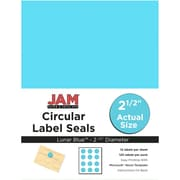 JAM Paper® Round Circle Label Sticker Seals, 2.5 inch diameter, Lunar Blue, 120/pack (337129602)