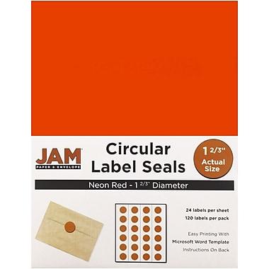 JAM PaperMD – Sceaux autocollants ronds, 1 2/3 po dia., rouge néon, 120/paquet