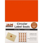 JAM Paper® Round Circle Label Sticker Seals, 1 2/3 inch diameter, Neon Red, 120/pack (354329579)