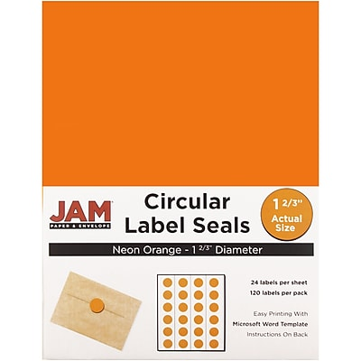 JAM Paper® Round Circle Label Sticker Seals, 1 2/3 inch diameter, Neon Orange, 120/pack (354329580)