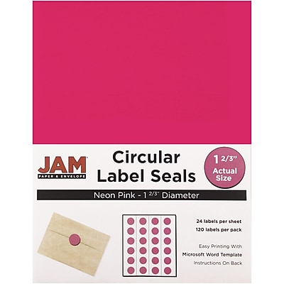 JAM Paper® Round Circle Label Sticker Seals, 1 2/3 inch diameter, Neon Pink, 120/pack (354329581)