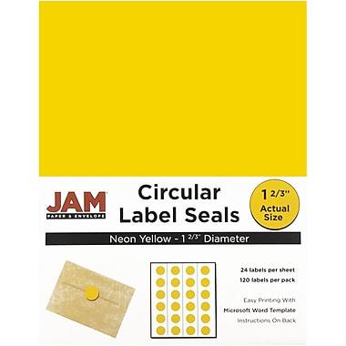 JAM PaperMD – Sceaux autocollants ronds, 1 2/3 po dia., jaune néon, 120/paquet