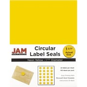 JAM Paper® Round Circle Label Sticker Seals, 1 2/3 inch diameter, Neon Yellow, 120/pack (354329582)