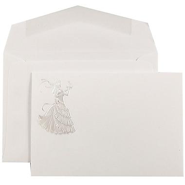 JAM PaperMD – Ensemble d'invitations Quinceanera, petit, 4 7/8 x 3 3/8, blanc, princesse rose et enveloppes blanches, 100/paquet
