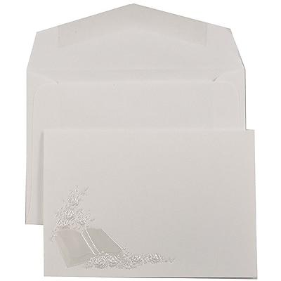 JAM Paper® Quinceanera Invitation Set, Small, 4 7/8 x 3 3/8, White, Pearl Bible Design, White Envelopes, 100/pack (52696590)