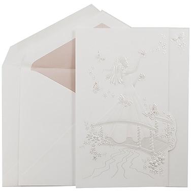JAM PaperMD – Ensemble d'invitations Quinceanera, grand, 5,5 x 7,75, blanc, princesse et papillons roses, intérieur rose, 50/pqt
