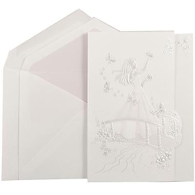 JAM PaperMD – Invitations Quinceanera, grand, 5,5 x 7,75, blanc avec princesse papillon rose, rose pétale mat, 50/paquet
