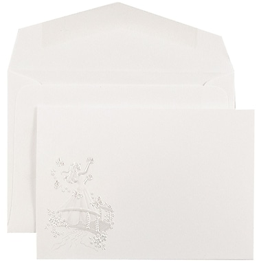 JAM PaperMD – Invitations Quinceanera, 4 7/8 x 3 3/8 po, blanc/princesse papillon rose, enveloppes blanches, 100/paquet