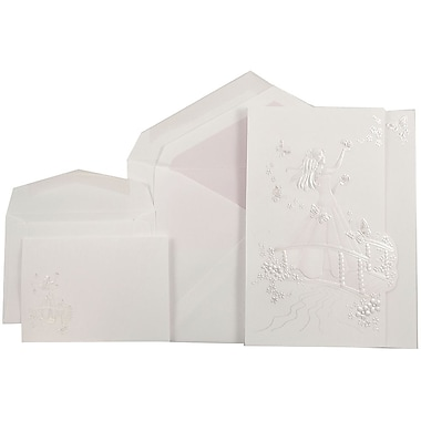 JAM PaperMD – Ensemble d'invitation Quinceanera, 1 petit et 1 grand, blanc/princesse papillon rose et ligne rose mat, 50/paquet