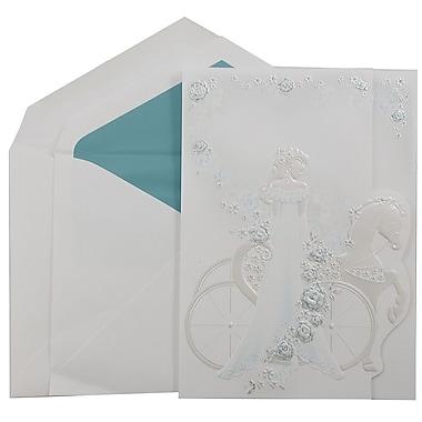 JAM PaperMD – Invitations Quinceanera, grand, 5,5 x 7,75 po, blanc avec princesse turquoise et ligne turquoise, 50/paquet