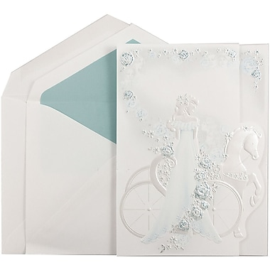 JAM PaperMD – Iinvitations Quinceanera, grand, 5,5 x 7,75 po, blanc, princesse bleu turquoise, bleu tropical mat, 50/paquet