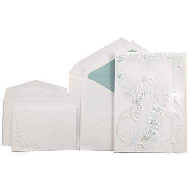 JAM Paper® Quinceanera Invitation Combo Set, 1 Sm 1 Lg, White, Aqua Blue Princess, Tropical Blue Lined Env, 150/pk (5268335MTBC)