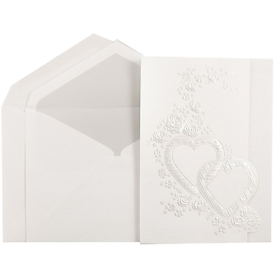 JAM Paper® Quinceanera Invitation Set, Large, 5.5 x 7.75, White with Pearl Hearts Design Crystal Lined, 50/pack (5269899CR)