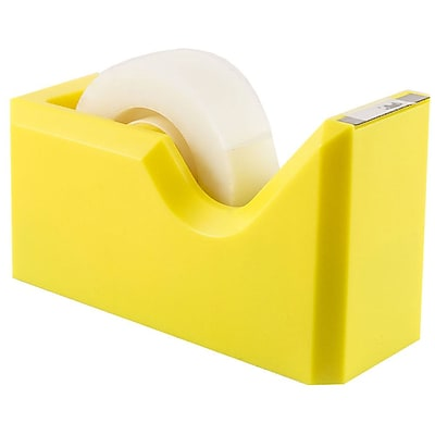 JAM Paper® Modern Tape Dispenser, Yellow, Sold Individually (338YE)