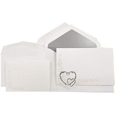 JAM PaperMD – Ensemble d'invitations Quinceanera, grand, 5,5 x 7,75, blanc, motif de cœurs argentés, doublure argenté, 50/paquet