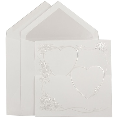 JAM Paper® Quinceanera Invitation Set, Large, 5.5 x 7.75, White, Loving Pearl Hearts Design, Crystal Lined, 50/pack (5267257CR)
