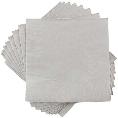 JAM Paper® Small Beverage Napkins, Small, 5 x 5, Silver, 50/Pack (255628826)