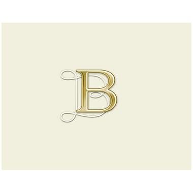 JAM PaperMD – Ensemble de papeterie avec cartes à plier personnalisées, blanc naturel avec élégante lettre B dorée, 12/paquet