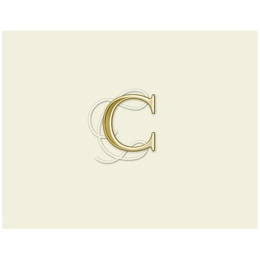 JAM Paper® Personal Stationery Foldover Card Set, Natural White with Elegant Gold Letter C, 12/Pack (52611807690)